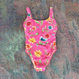 Vintage floral one piece swimsuit bathing suit